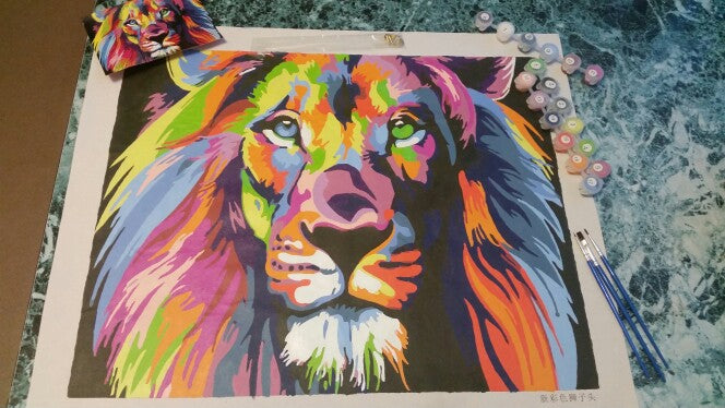 Abstract Diy Paint By Numbers Lion Art