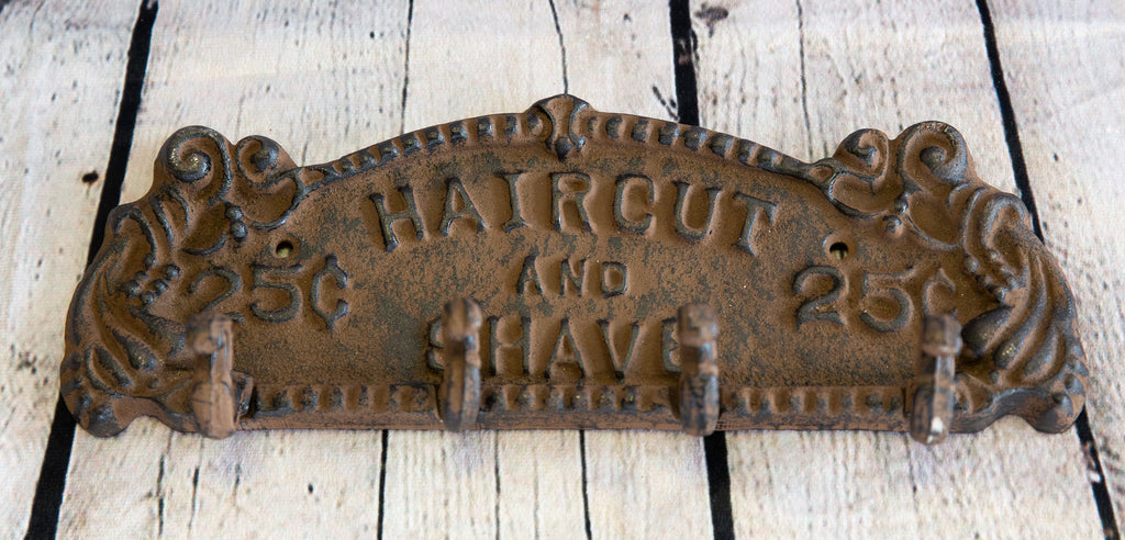 HAIRCUT AND SHAVE WALL HOOKS