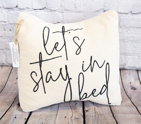DECORATIVE THROW PILLOW - LET'S STAY IN BED