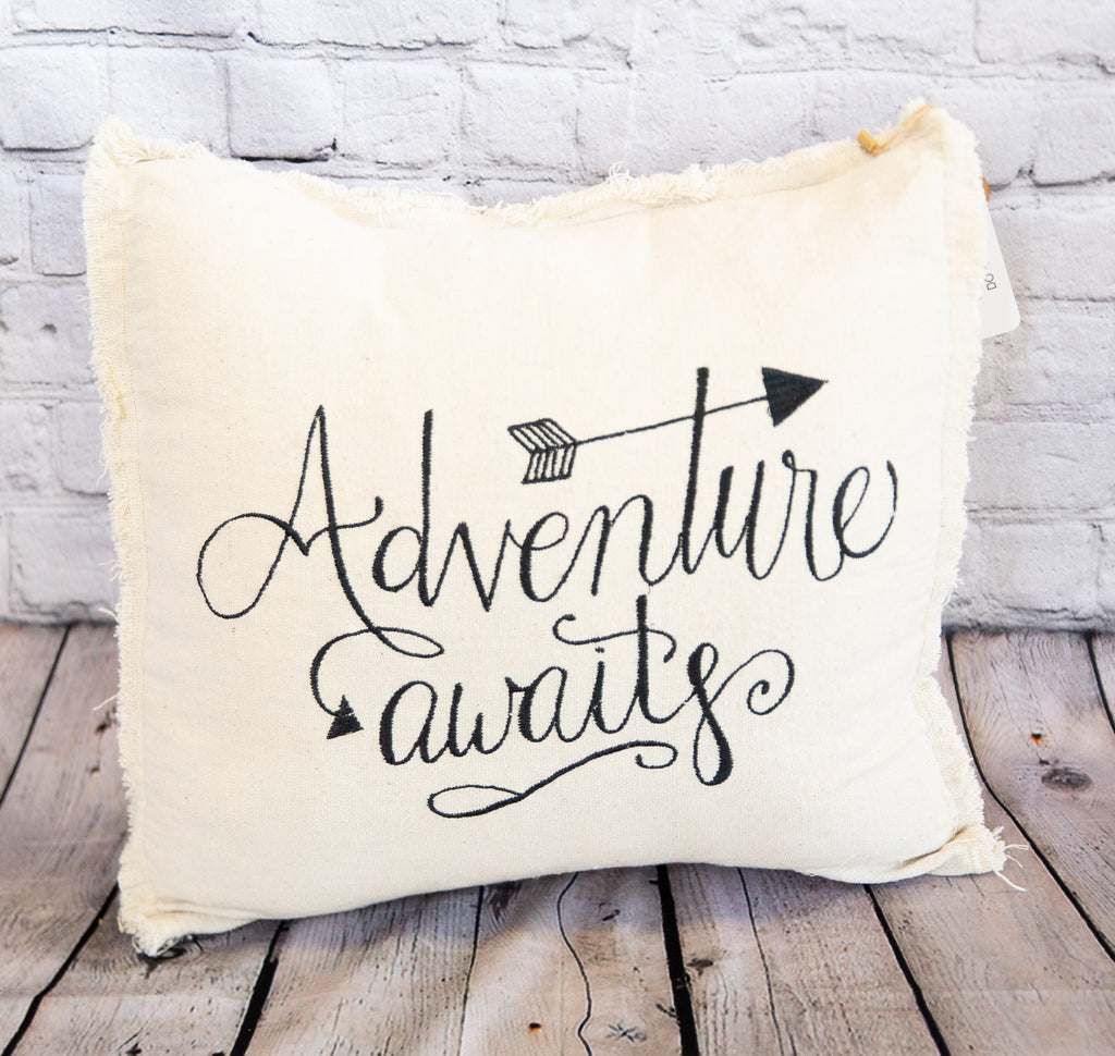 DECORATIVE THROW PILLOW - ADVENTURE AWAITS