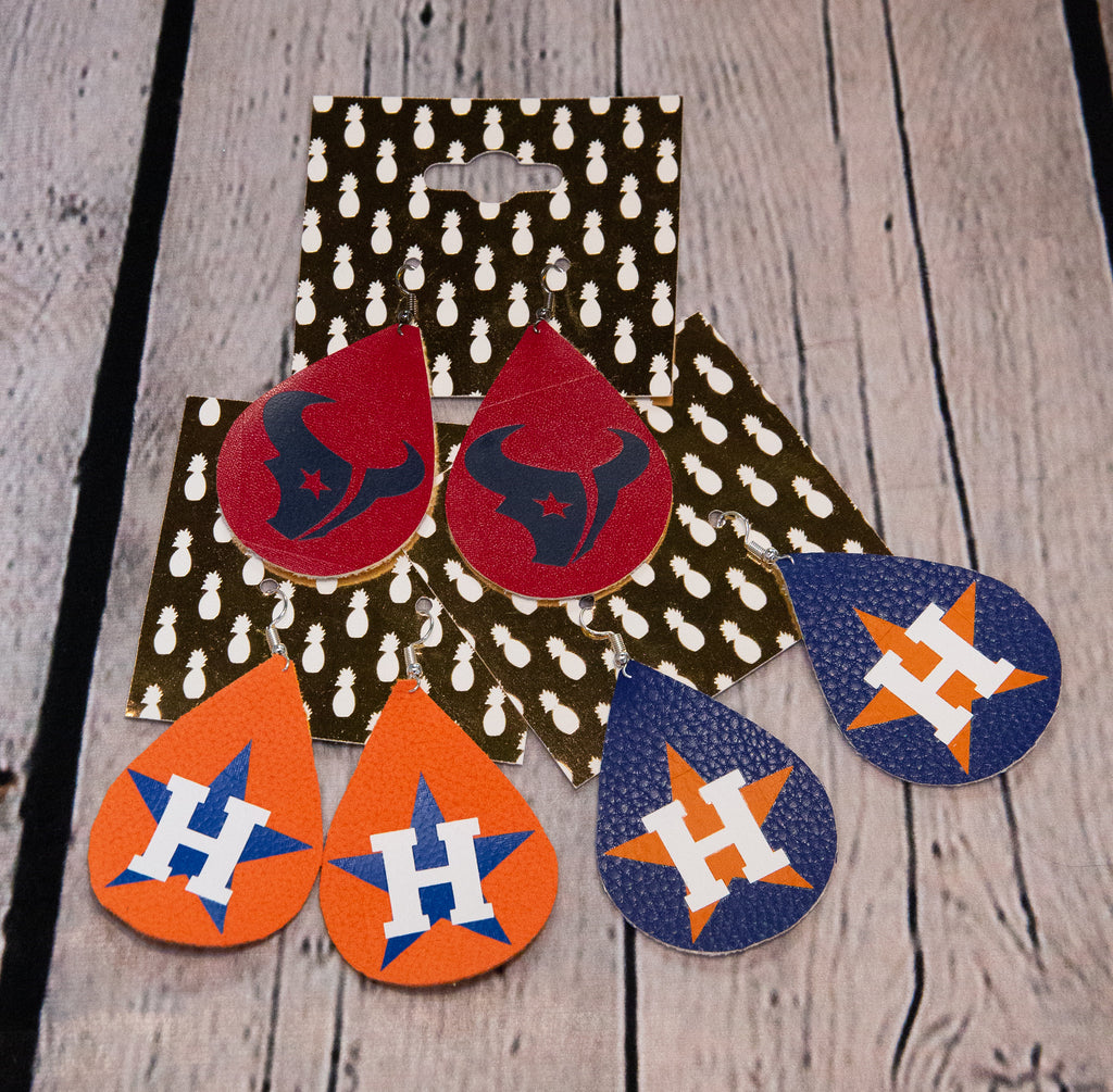 HOUSTON SPORT TEAMS LEATHER EARRINGS