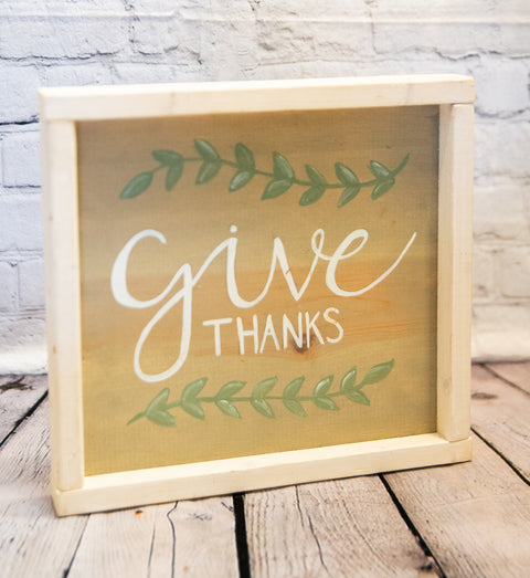 """GIVE THANKS"" WOOD PLAQUE"