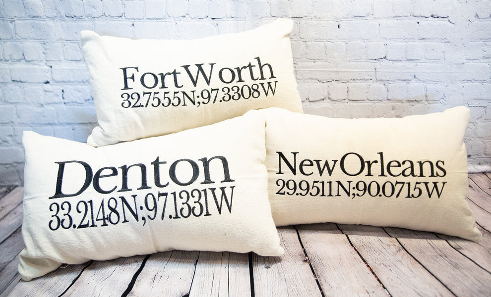 "CUSTOM EMBROIDERED ""CITY"" PILLOW"