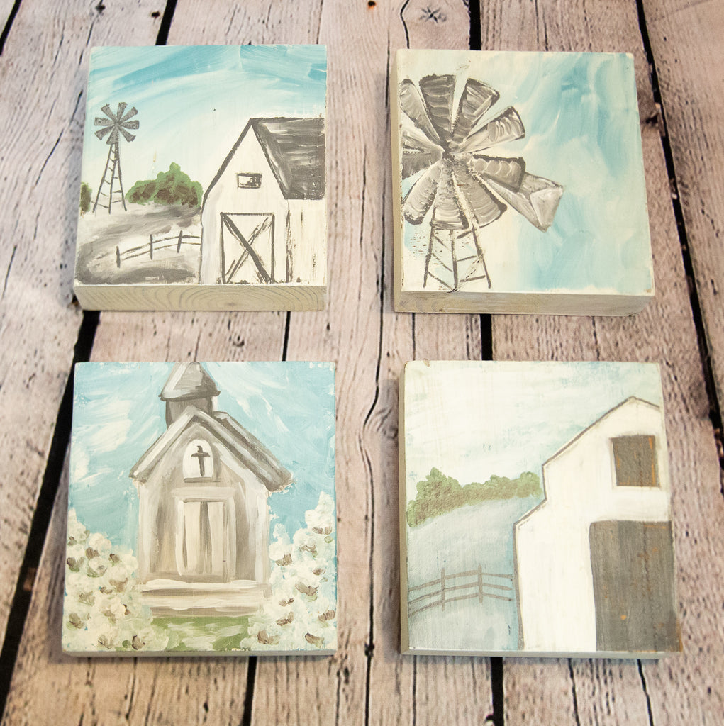 MINIATURE WOOD BLOCK PAINTINGS