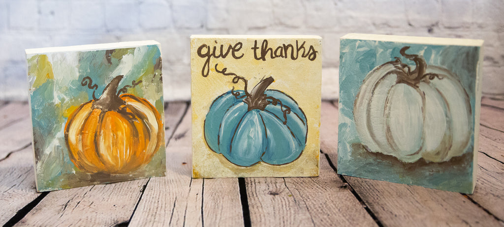 MINI WOOD PUMPKIN PAINTINGS