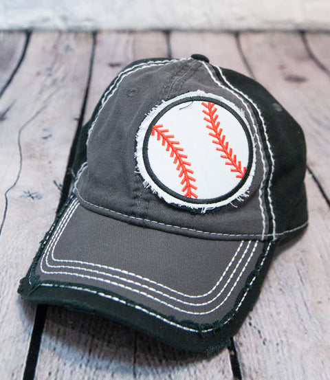 BASEBALL / SOCCERBALL PATCH DISTRESSED TRUCKER HAT - BLACK