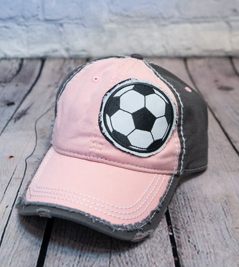 SOCCER BALL / BASEBALL  PATCH DISTRESSED TRUCKER HAT - PINK