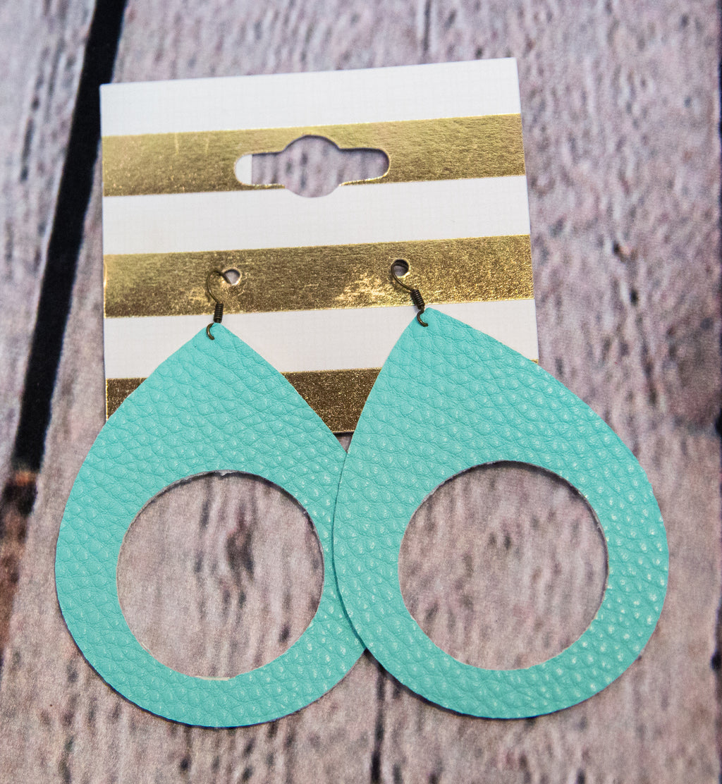 TURQUOISE LEATHER EARRINGS