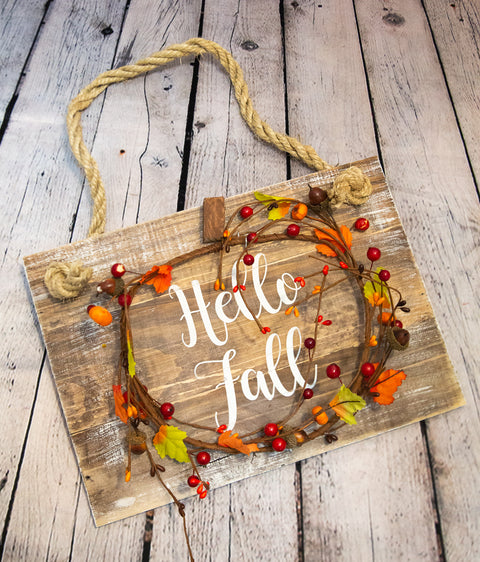 """Hello Fall"" Sign (Fall Wreath)"