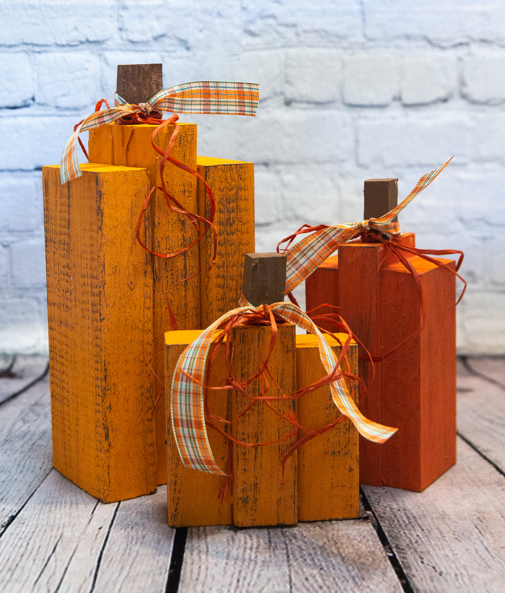 WOOD BLOCK PUMPKIN SET