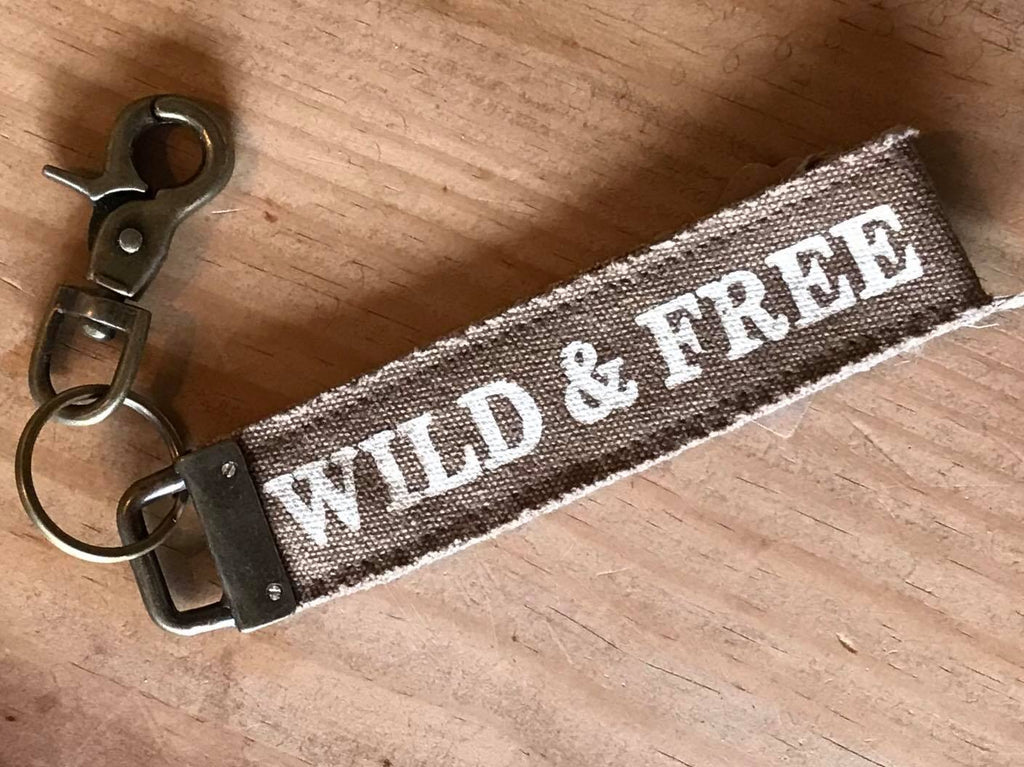 WILD AND FREE CANVAS KEY FOB