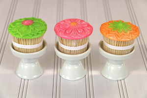 Mini Modern Flowers Cupcake Topper Set