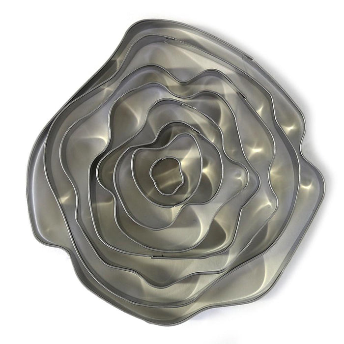 Rose or Off Round Modern Flower Cutter Set of 8