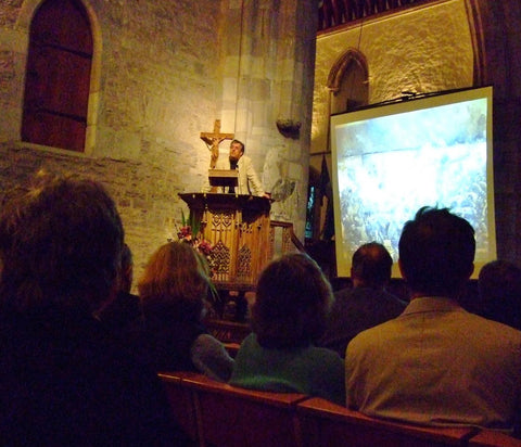Giving a talk on the battle of iSandlwana from the pulpit of Brecon Cathedral!