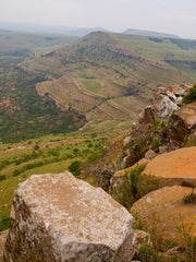 From the summit of Hlobane looking down over Ityenka Nek; the cliffs where the Border Horse came to grief.