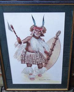 TWO LARGE FRAMED PIECES OF ORIGINAL ARTWORK, ZULU and 24TH