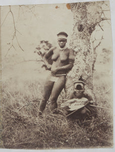 Rare & Interesting c. 1870s Photograph - Zulu Man & Woman Pictured Outside