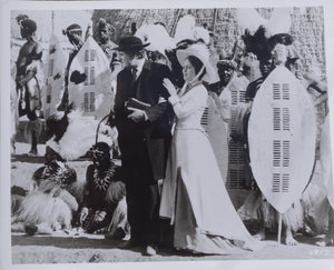 ZULU Movie Still - Rare scene with Jack Hawkins and Ulla Jacobsson at the Zulu royal homestead.