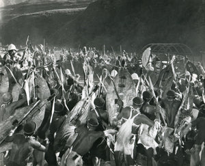Black & White Press Still from 'ZULU' - Final Attack Scene