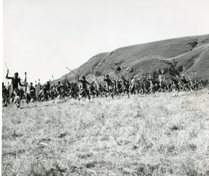Black & White Press Still from 'ZULU' - Counting Your Guns Attack Scene