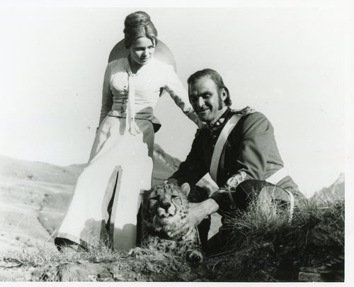 Modern ZULU Movie Still - Ulla Jacobson and Stanley Baker stroking the cheetah!