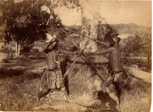 Intriguing c. 1880s Photograph - Zulu Men Stick Fighting