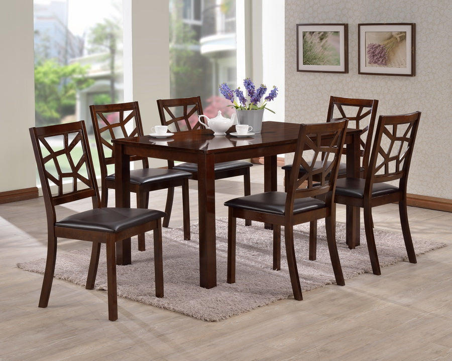 Baxton Studio Mozaika Wood And Leather Contemporary 7 Piece Dining Set Set  Of 1