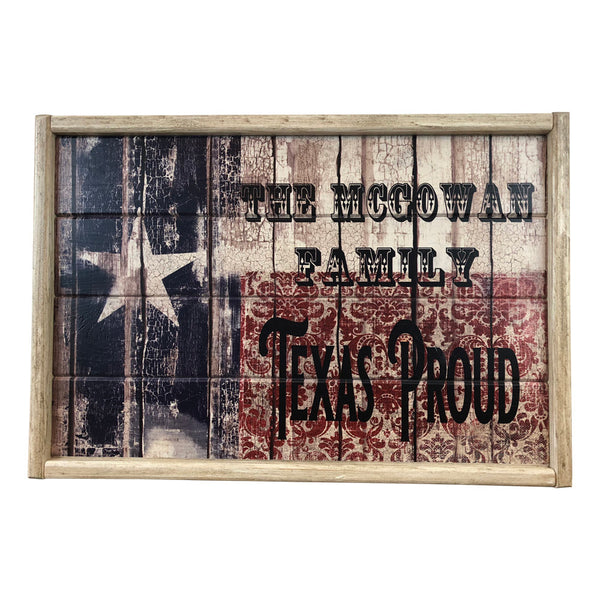 Texas Flag Texas Proud Personalized Distressed Framed Wood Sign or Tray