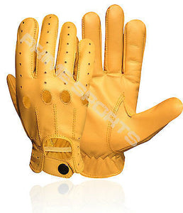 REAL SOFT LEATHER MEN'S UNLINED DRIVING GLOVES STYLISH FASHION YELLOW D-507