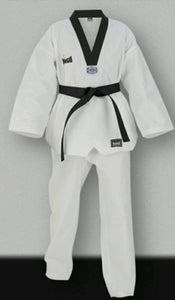 TAE KWAN DO MARTIAL ARTS WHITE 8 oz WEIGHT UNIFORM  WITH WHITE BELT