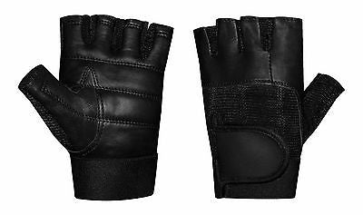 WEIGHT LIFTING  DRIVING BODY BUILDING GYM VELCRO WRIST PADDED LEATHER GLOVES
