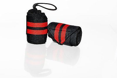 Prime Sports Pro Wrist Wraps Elastic Support Weight Lifting w/ Thumb Loop 18