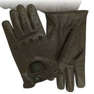 TOP QUALITY REAL SOFT LAMBSKIN LEATHER MENS UNLINED FASHION DRIVING GLOVES BROWN