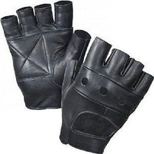 New Black Plain Fingerless Biker Punk Goth Driving Cycling Gloves Real Leather