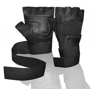 Weight Lifting half finger Leather Padded Long Wrist Wrap working Gloves W1045B
