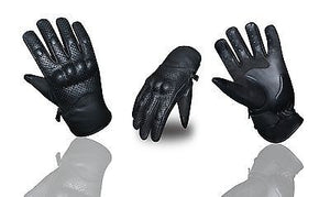 Motorcycle Genuine Leather Knuckle Protection Touch Screen Riding Biker Gloves