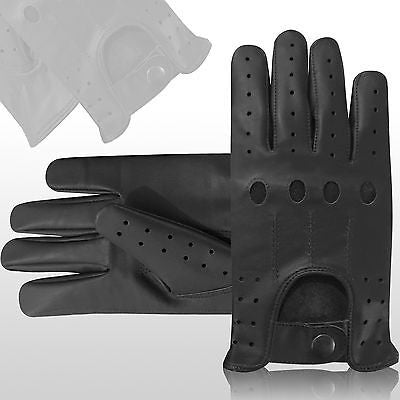 TOP QUALITY REAL SOFT LEATHER MENS UNLINED FASHION DRIVING GLOVES BLACK