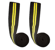 Power Lifter Weight Lifting Knee Wraps Supports Gym Training Pair Yellow Line