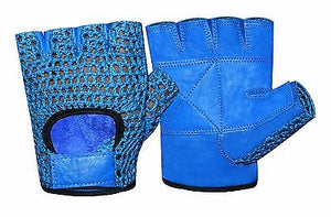 WEIGHT LIFTING MESH REAL LEATHER GYM TRAINING FITNESS DRIVING WHEELCHAIR GLOVES