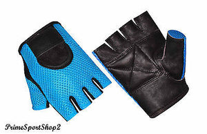 WEIGHT TRAINING FITNESS POWER LIFTING CYCLING WHEELCHAIR MESH LEATHER GYM GLOVE