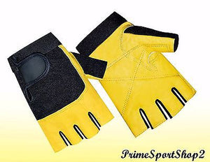 WEIGHT LIFTING LEATHER PADDED DOUBLE PALM TRAINING FITNESS BODY BUILDING GLOVE