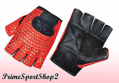 WEIGHT LIFTING GYM TRAINING DRIVING WHEELCHAIR MESH REX LEATHER GLOVE RED BLACK