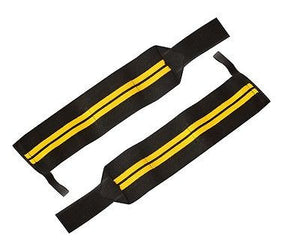 Premium Quality Cross fit Bodybuilding black yellow Pro Pair 18 inch Wrist Wraps