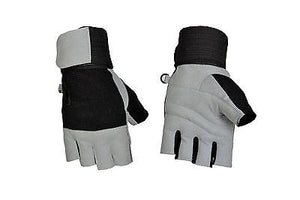 WEIGHT LIFTING TRAINING FULL PADDED LEATHER GLOVE LONG STRAP GREY GLOVES