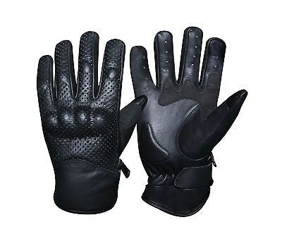 MOTORCYCLE LEATHER RACING BIKING BLACK TOUCH SCREEN GLOVES
