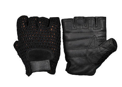 Weight Lifting Training Cycling Driving Wheelchair Sports Leather Mesh Gloves 29