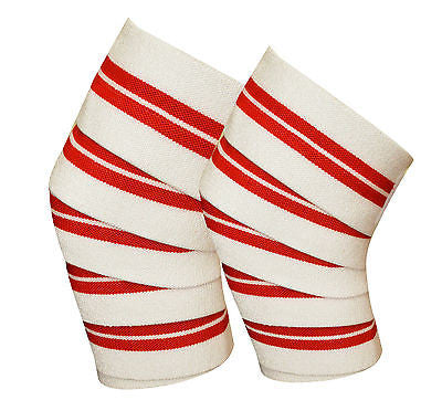 Power Lifter Weight Lifting Knee Wraps Supports Gym Training Pair Red/White