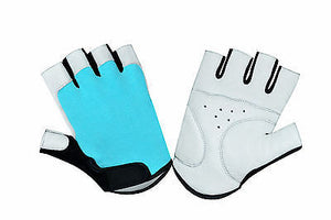 Cycling Leather Forway Padded Bicycle Sport Gel Half Finger Gloves 1047