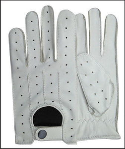 REAL SOFT LEATHER MENS UNLINED FASHION DRIVING GLOVES WHITE