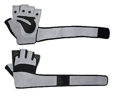 WEIGHT LIFTING PADDED BODY BUILDING GYM LONG WRIST STRAP TRAINING GLOVES 001